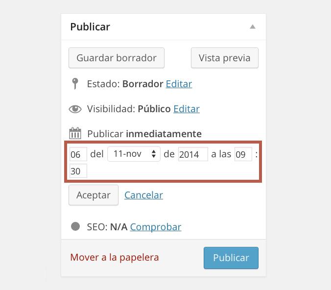 Programar una entrada en WordPress