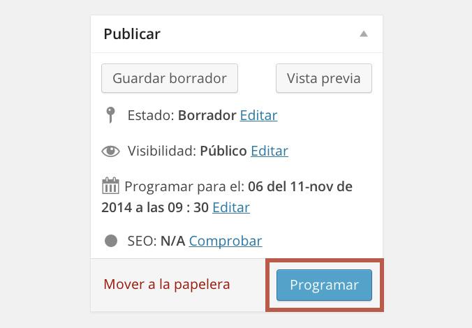 Cómo programar entradas en WordPress